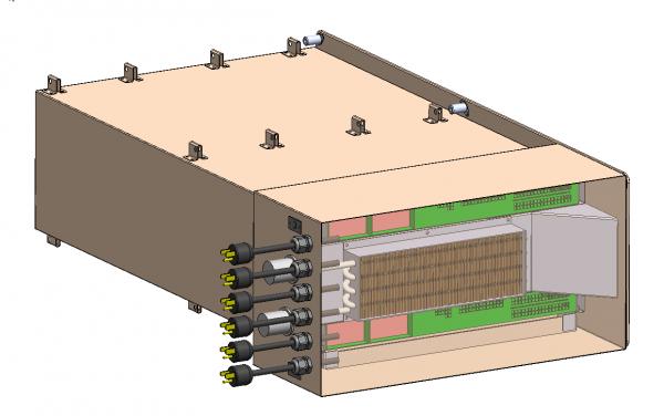 Spaceborne Computer: Hinter einem Frontelement mit Anschüssen (links) und Wärmetauscher verbergen sich Motherboards und SSD-Massenspeicher. | Quelle: HPE-SGI/NASA